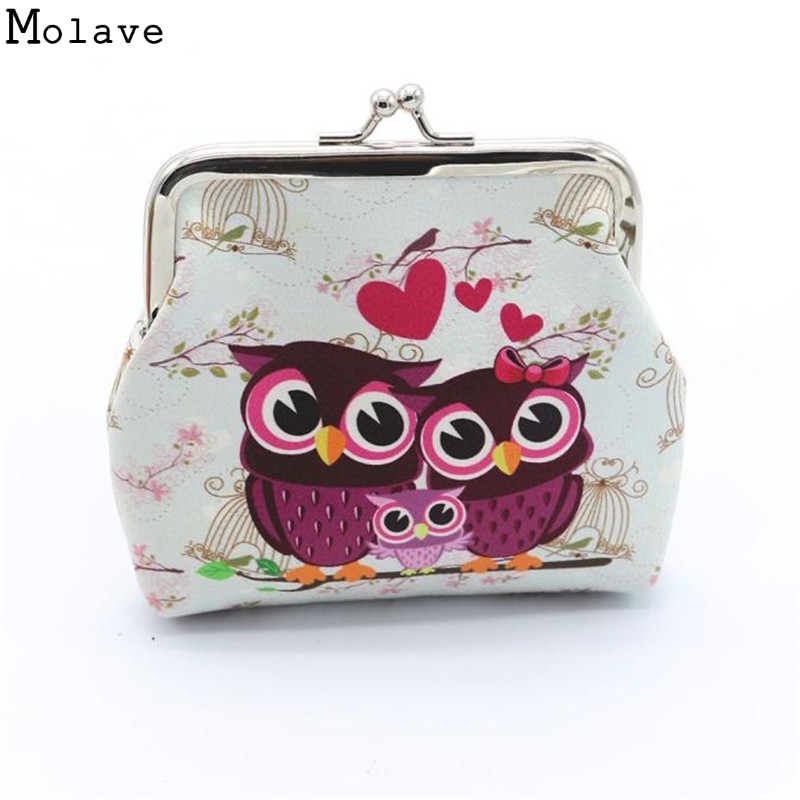 Excellent Quality Women Coin Purse Owl Printing Lady Change Purse Leather Coin Wallet Female Money Bag Mini Wallet Gift D45Ma9