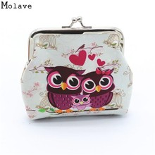 Excellent Quality Women Coin Purse Owl Printing Lady Change Purse Leather Coin Wallet Female Money Bag Mini Wallet Gift D45Ma9(China)
