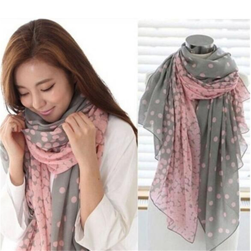 Hot Sale Women Lady Spring Autumn Warm Soft Long Voile Neck Large Dots   Scarf   1Pcs   Wrap   Shawl Pink Grey Wholesale 2 Styles
