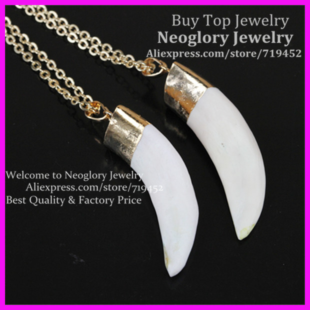 5pcs New Charming Necklace,Wolf <font><b>Teeth</b></font> Pendant with Chain,Gold Color White Wolf <font><b>Tooth</b></font> Shape Semi precious <font><b>Horn</b></font> Pendants Necklace image