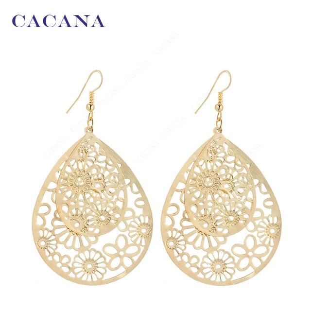 CACANA Dangle Long Earrings For Women Big Hollow Patten Water Drop Bijouterie Ho