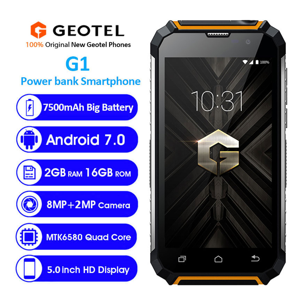 Geotel G1 7500mAh Power Bank Mobile Phone Android 7.0 <font><b>MTK6580A</b></font> Quad Core 3G WCDMA Phone 2GB RAM 16GB ROM Cell Phones image
