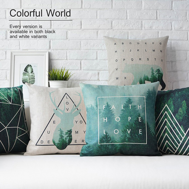 Nordic Style Cushion Covers Home Decor Plaid Decorative Throw Pillow Case  Deer Geometric Cushion Green Pillow