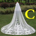 C Style 3 Meters White Ivory Cathedral Wedding Veils 300*300cm Lace Edge Bridal Veil Wedding Accessories Bride Wedding Veil
