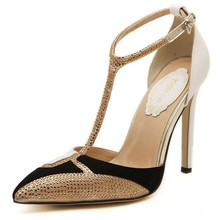 2015 New Rhinestone High Heels Women Pumps Sexy Pointed Stiletto Heels Brand Mix color patchwork Gold Dress shoe