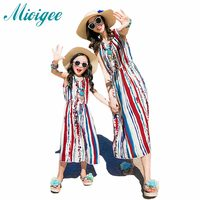 2017 New Summer Family Look Beach Dress Mother And Daughter Dresses Fashion Stripes National Wind Dress