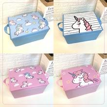 Kids Cute Toys Storage Box Cartoon Unicorn Organizer for Book Stationery Clothes Bedroom Foldable Bins