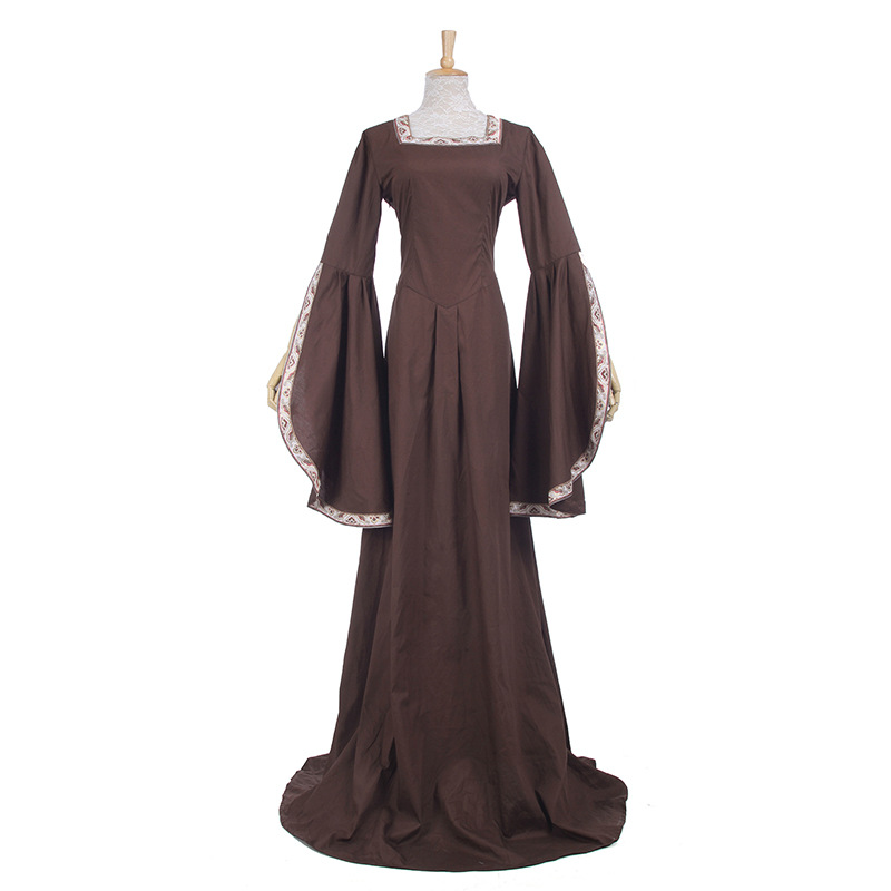Vintage Brown Medieval Renaissance Dress Women Gothic Victorian Scottish Celtic Irish Wench Dress Halloween Cosplay Costume
