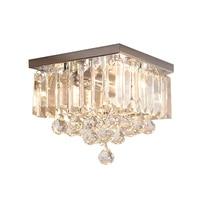 Современная мода Ресторан K9 Кристалл G4 Светодиодные лампы Потолочные дома-деко столовая нержавеющая сталь потолочный светильник