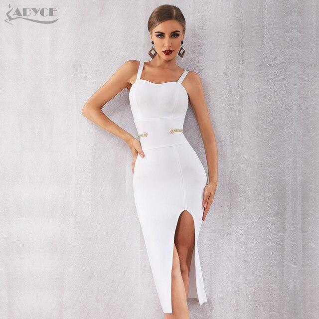 Adyce Verão 2019 Nova Bandage Vestido Mulheres Celebridade Elegante Vestido de Festa À Noite Vestido Sexy Spaghetti Strap V Profundo Clube Vestidos