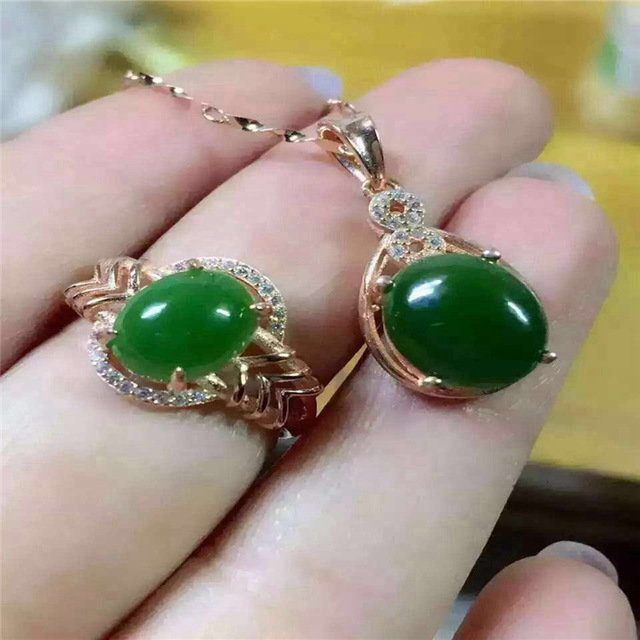 Natural jade set inlaid jewelry wholesale S925 silver silver free postage