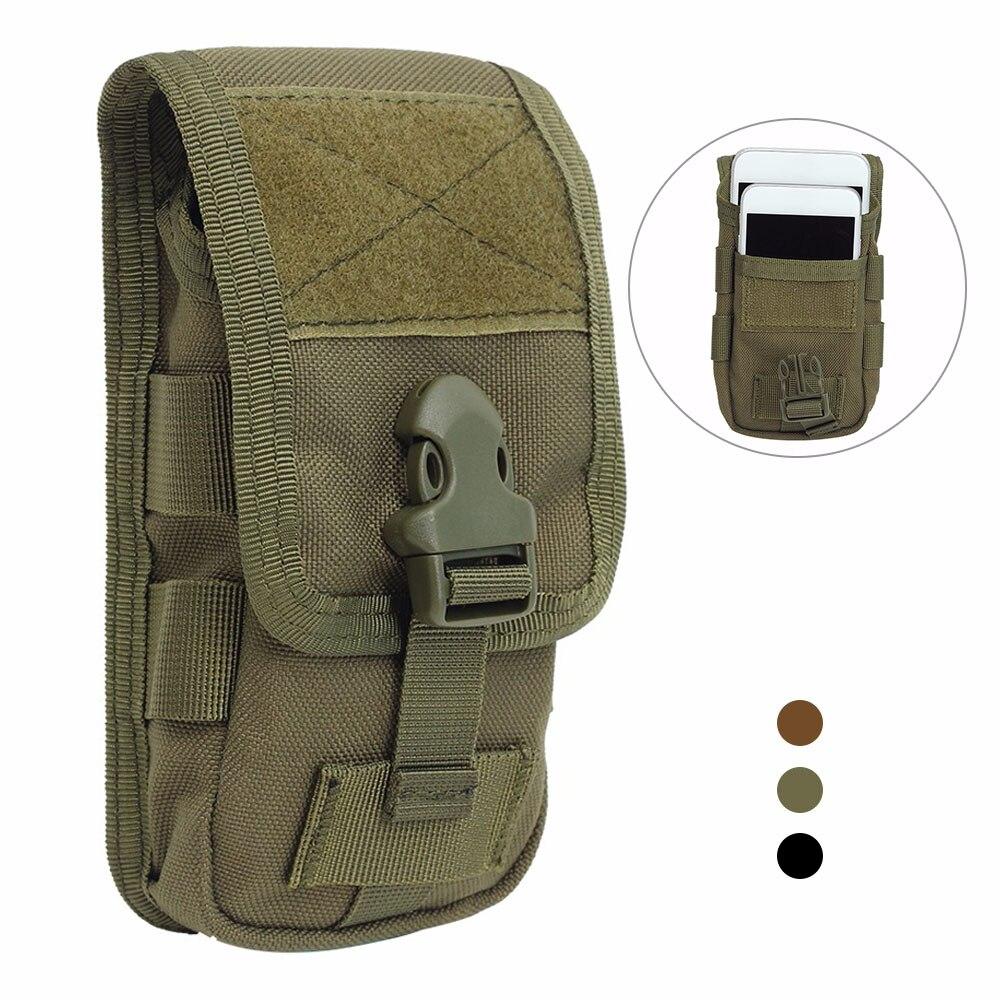 Taktik çift katmanlı telefon kılıf çanta Molle cep telefonu kılıfı para alet çantası kemer askeri avcılık Molle Fanny çanta bel çantası