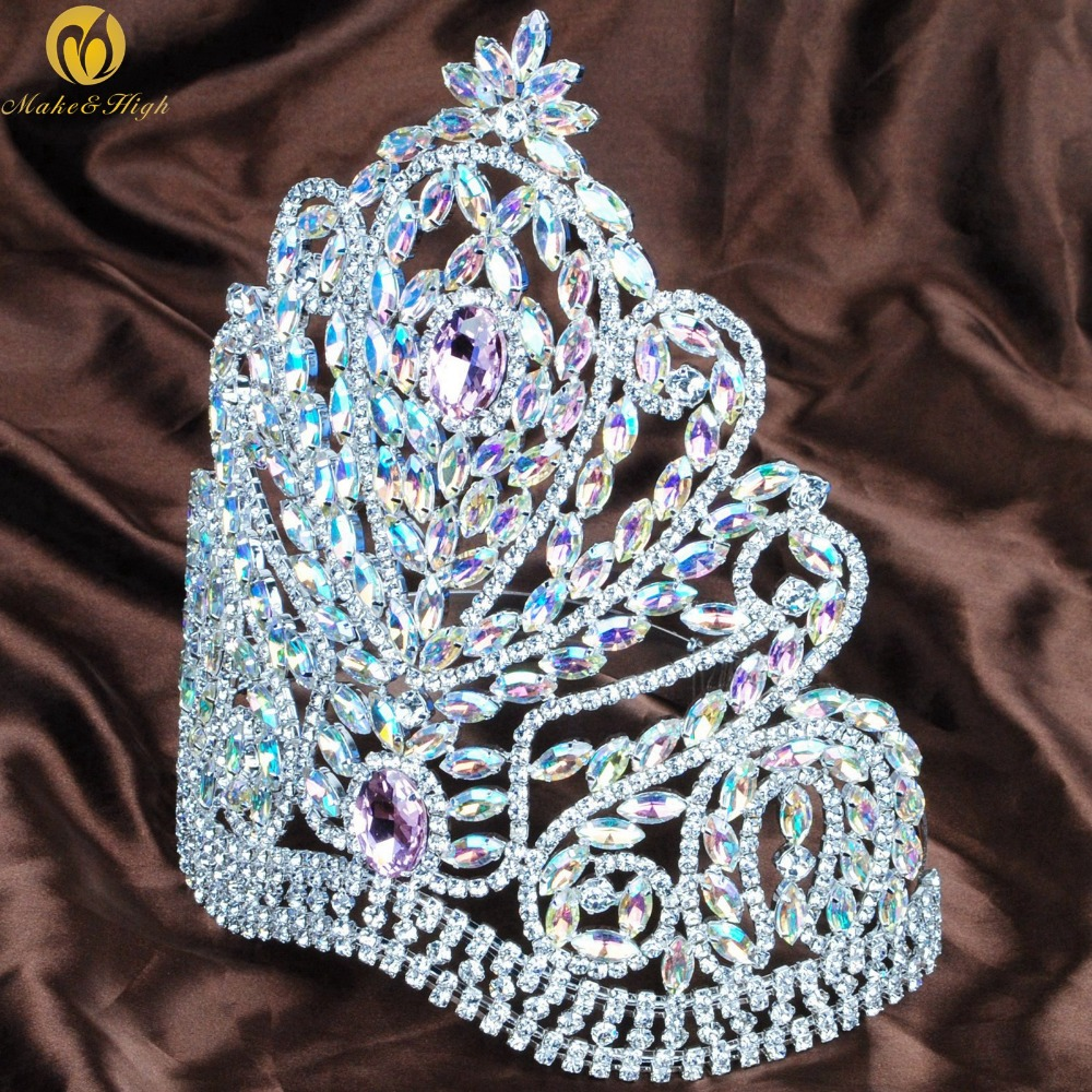 Gorgeous Miss Pageant Large Tiara Crown Pink AB Rhinestones Crystal Wedding Bridal Headband Hair Jewelry цена