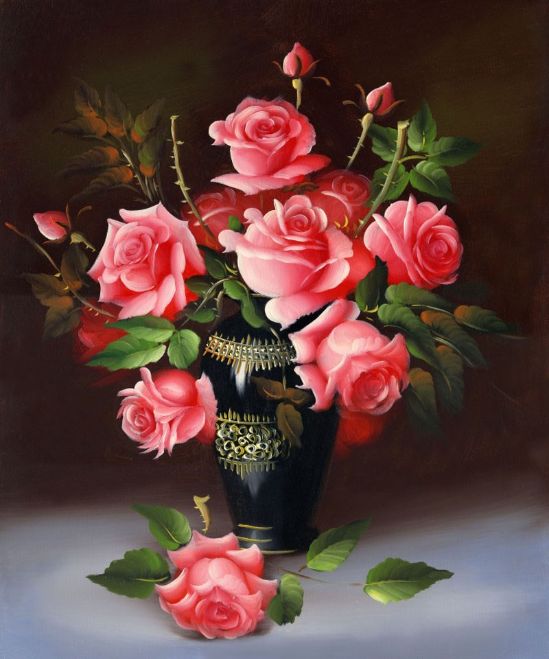 YIKELA NEW 3D Diamond Painting Cross Stitch Red rose Floral Vase Needlework Diamond Embroidery Flower round