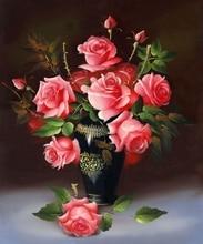 YIKELA новая 3D Алмазная картина вышивка крестиком красная роза Цветочный ваза рукоделие Алмазная вышивка цветок круглое бриллиантовое украшение