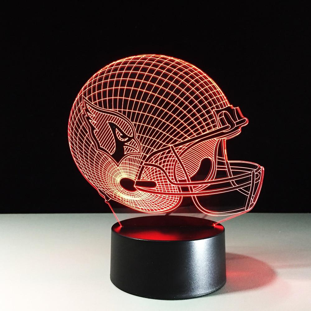 3D LED Football Helmet Table Lamp USB Team Rugby Cap Nightlights Color Changeable Sleep Lighting Sports Boys Bedroom Decor Gifts