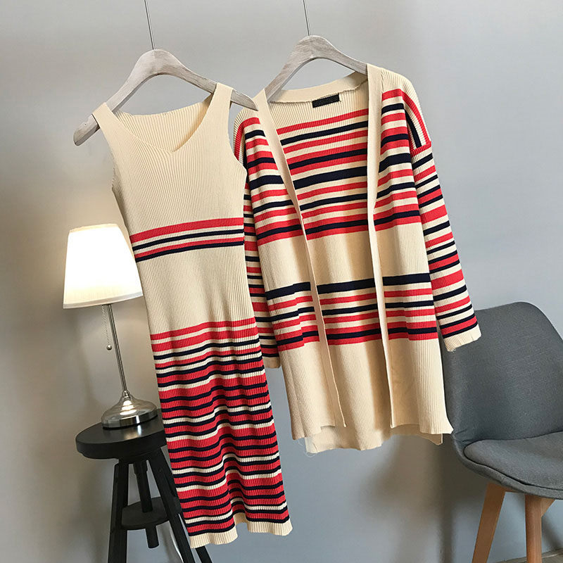 2019 New Autumn Slim Women's Long Sleeve Stripe Long Knitted Sweater Jacket Tops+ Vest Dress Two Pieces Knitting Dress Set F1155