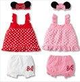 """Прекрасный девочка 3-костюм: мыши уши """"оголовье + горошек платье + белые шорты/2 цвета: розовый и Красный"""