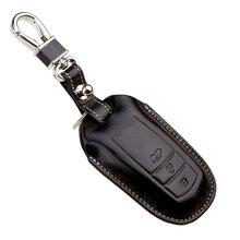 Leather Car Key fob Case Cover for Toyota Highlander 2015 Crown Reiz Camry 2014 Prado Key Holder Keychain Ring Auto Accessories