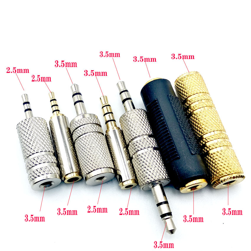 2.5mm/3.5mm Female To Female Audio Adapter Connector Coupler Stereo F/F Extension Audio Plug Converter Male To Female