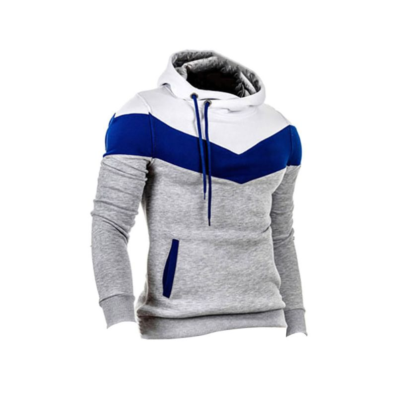 Winter Men Patchwork Long Sleeves Belt O-Neck Warm Hoodie Pullover Slim Outwear Hoddies New Sale