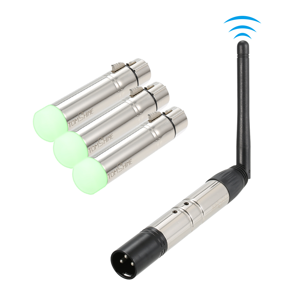 4PCS DMX512 Transmitter Receiver Kit 3pin male female 2 4G ISM 126 channels Wireless for DJ