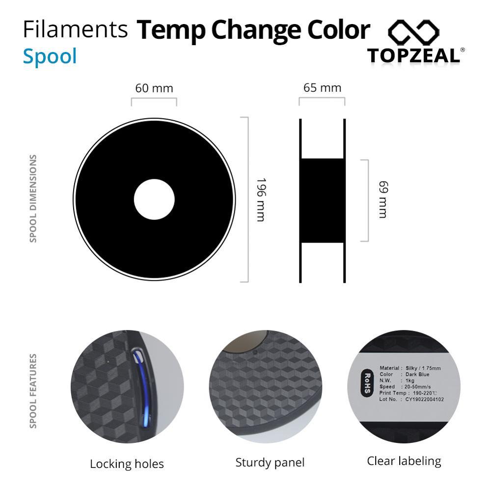 topzeal 3d pla impressora de filamento cor 04