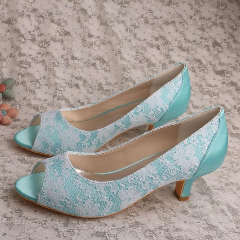 Wedopus Mint Green Wedding Shoes for Bridesmaids Low Heel ...