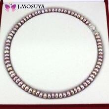 J. MOSUYA Natural Verdadero Collar de Perlas Para Las Mujeres de Joyería de Perlas de Agua Dulce Púrpura Regalo de La Madre
