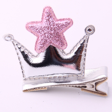 New Arrivals 2019 Kid Hair Clip Cute Crown Star Barrette For Girls Sumer Hearwear Ornament PU Tiaras Brand Pin 2 Pieces/lot