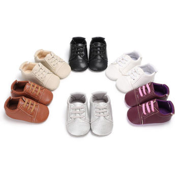 0-18M Newborn Baby Kids Sandals Children PU Breathable Antiskid Lace Up Shoes Leather Shoes