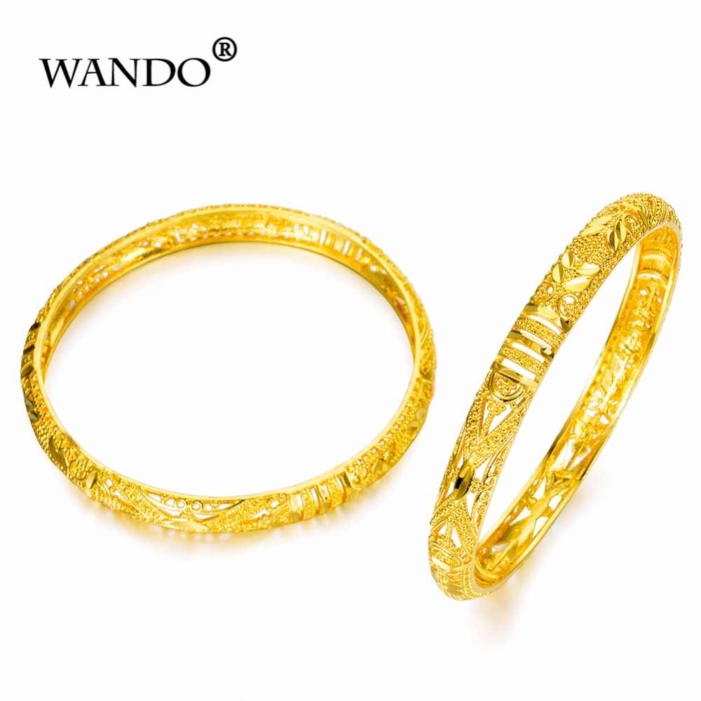 WANDO 2 יח'\חבילה אפריקאי תכשיטי פרח זהב דובאי צמיד אפריקאי חוט צמיד, האתיופית תכשיטי b51