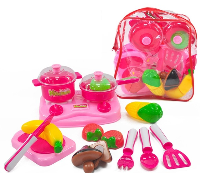 YARD Children Kitchen Set Pretend Play Cut Toy Vegetables Plastic Kids Cook  Food Eduacation Game With