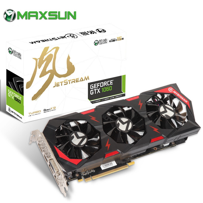 8000MHz MAXSUN NVIDIA GeForce JetStream GTX1060 6GB Video Graphics Card GPU GDDR5 192bit PCI-E Express3.0 VR Ready For PC Gaming image