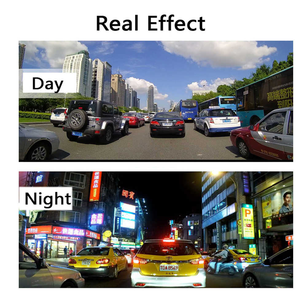 Latest Car DVR Dash Camera Dash Cam 4.3'' Car DVR Mirror Dual Len HD 1080P Rear View Camera Rearview Dashcam Auto Recorder Video