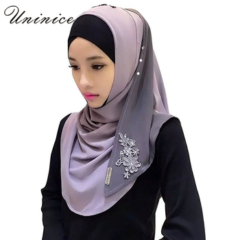 Muslim Women Hijab Crystal Hemp Embroidery Scarf Hooded Instant Wraps Bandanas Cap Underwear Shawl Abaya Headgear Arab Islamic