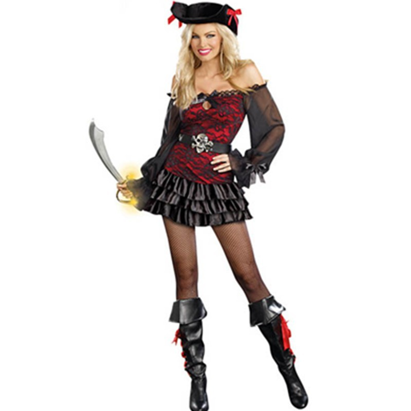 Black Off-the-shoulder Long Sleeves Peasant Ruffled Satin Dress Woman Pirate Costume Precious Booty Costume with Hat L1192 L1192 (9) 800x800