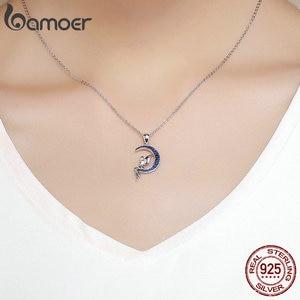 Image 5 - BAMOER ขายร้อน 100% 925 เงินสเตอร์ลิง Lucky Fairy Blue Moon จี้สร้อยคอเงินผู้หญิงเครื่องประดับของขวัญ SCN244