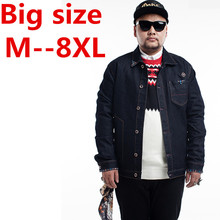 9XL 8XL 6XL Men jean coat autumn winter new style hot sale high quality male jean jacket comfortable slim brief turn-down collar
