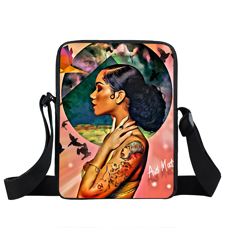 Afro Lady Girl messenger bag Africa Beauty Princess small shoulder bag brown women handbag mini totes teenager crossbody bags 11