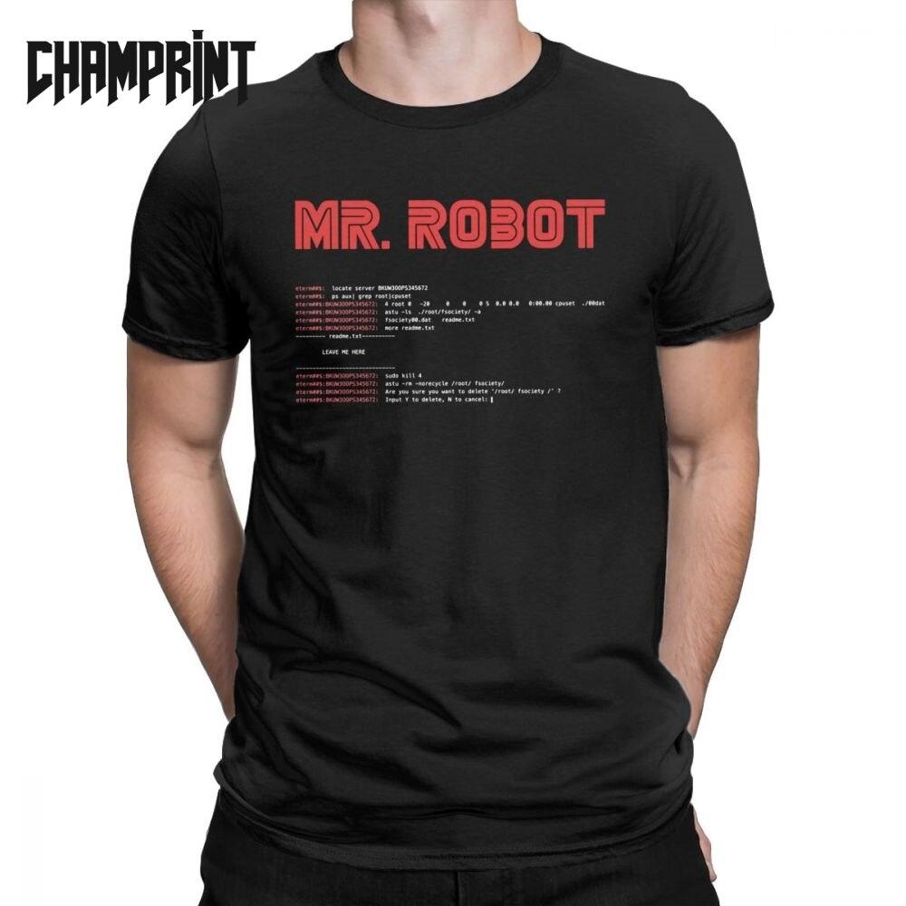 Cool Mr Robot T Shirt Programming Programmer Tees Developer Code T-Shirts For Men Crew Neck Cotton Short Sleeve Big Size Clothes
