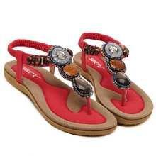 Bohemia Beading Footwear Ladies Sandals Summer season Footwear 2017 Flip Flops Comfy Seaside Flat Ladies's Footwear measurement 35-45 148-A3