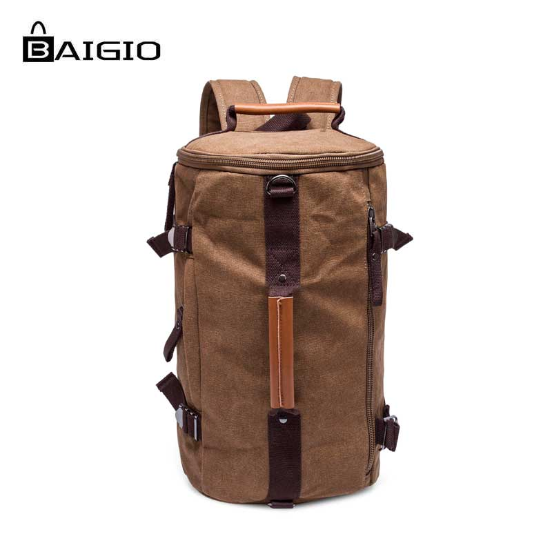 Baigio Men's Backpack Canvas Vintage Travel Bags Black Casual Large Capacity Laptop Backpack Khaki Shoulder Travel Men Backpack newest hmong embroidered women backpack black canvas ethnic casual travel backpack fashion vintage laptop bags