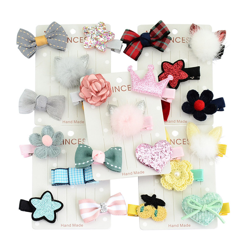 YWHUANSEN 5pcs/set Rabbit Ear Baby Girls Hair Clips Imitation Mink Hair Barrette Baby Hair Accessories 2017 Clips For Hair Child 1set kawaii kids ribbon hair bows accessories barrette hairpin for child girl hair ornaments clips pin hairclip headdress