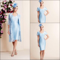 Blue New Elegant Applique V-Neck Short Sleeve Mother Of the Bride Dresses Knee Length Sheath With Jacket 2016 Party Dress Hot