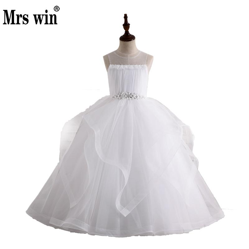 Robe De Bal Flower Girl Dresses 2018 New Arrival Mrs Win Luxury Applique With Beads Ball Gown For Girls Vestido Daminha X