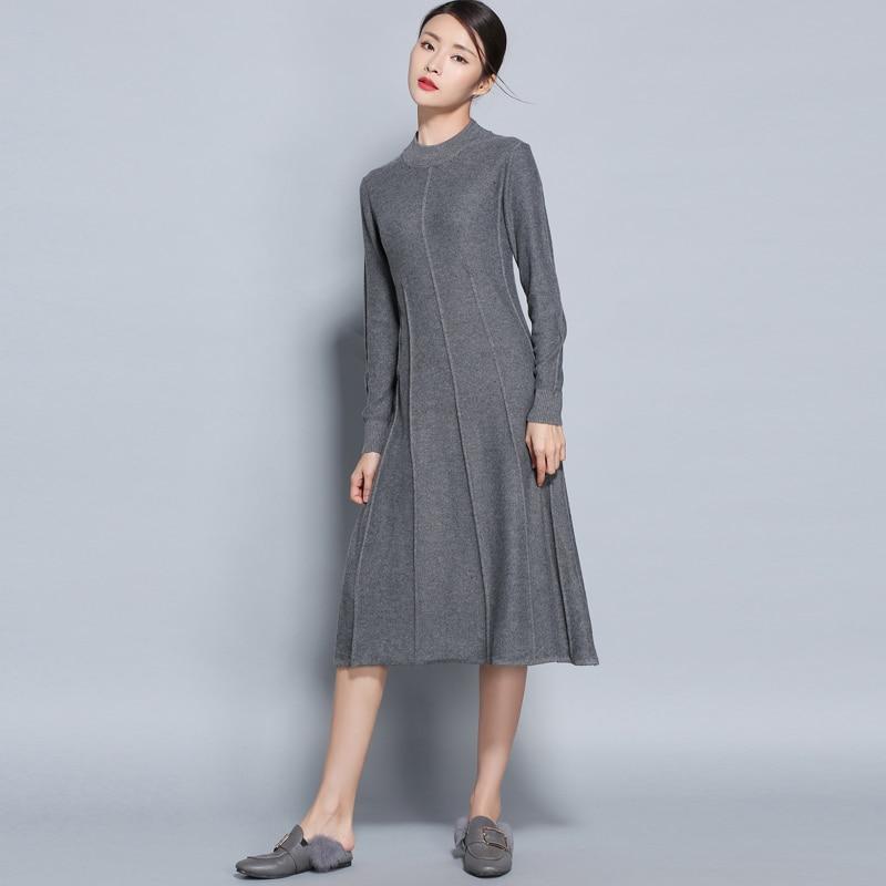 Automne hiver femmes robe en cachemire longues robes pull grandes tailles tricoté col rond laine longue femme couleur unie pull