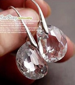 Japanese And Korean Fashion Personality Peas Transparent White Women Crystal Earrings Jewelry Lover Tears  Free Shipping