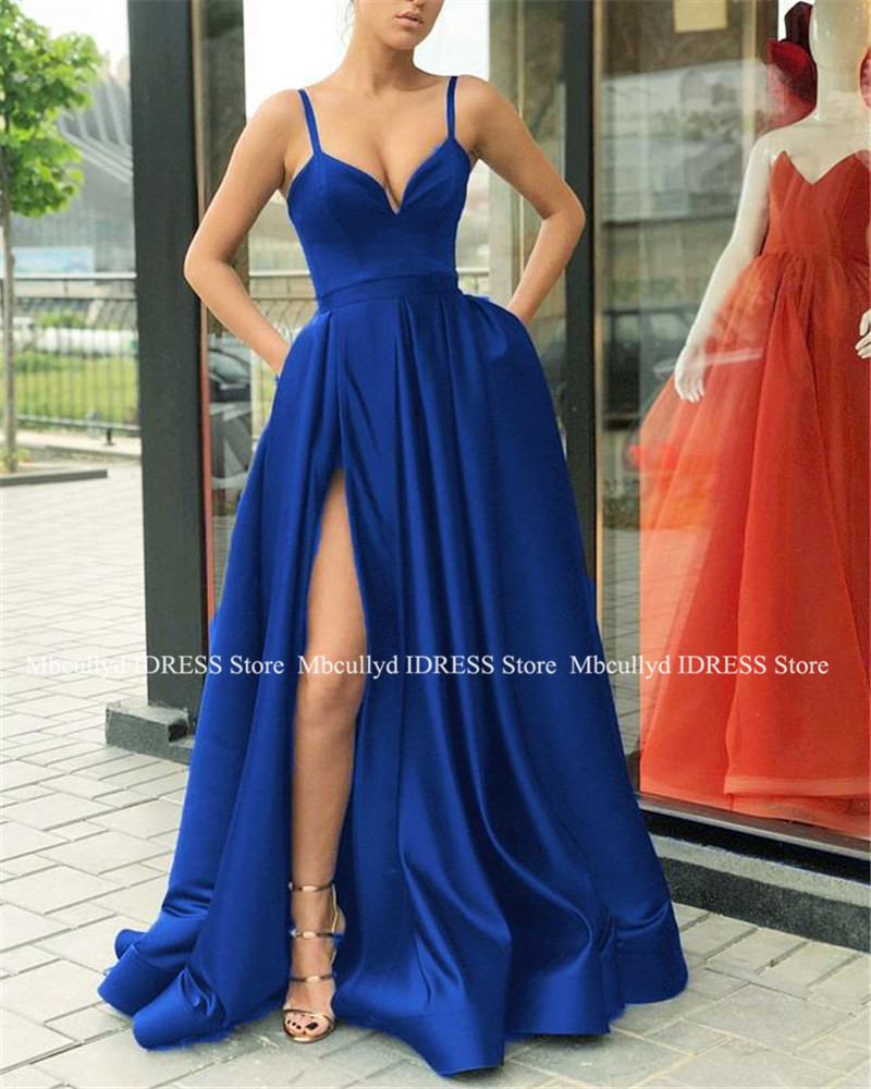 Royal Blue Long   Prom     Dresses   2019 New Sexy Split Backless A Line Special Occasion Evening Gowns Formal Sweep Train Party   Dress