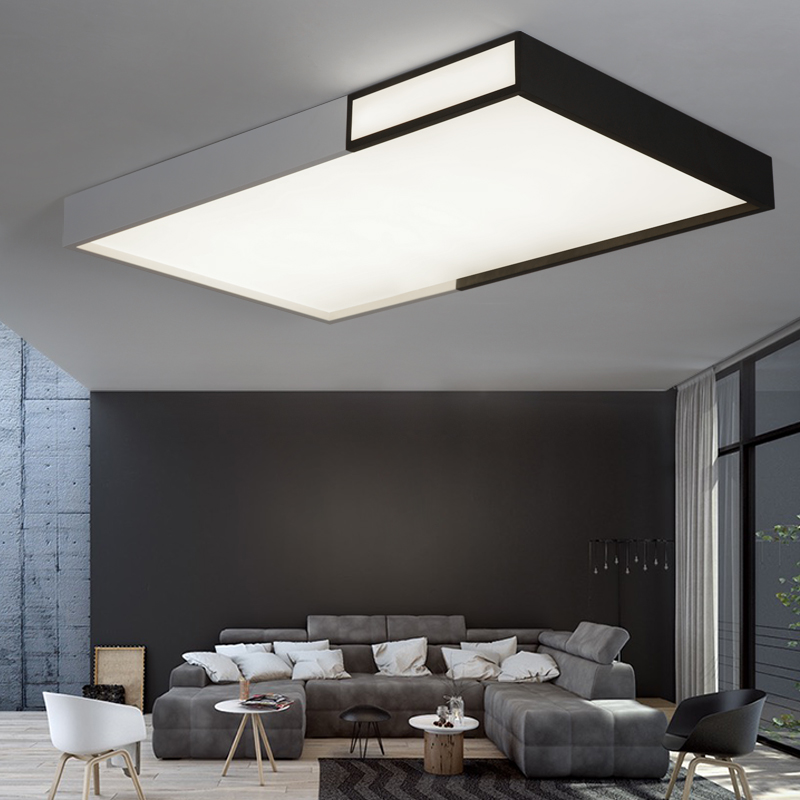 Creative Modern LED Ceiling Chandelier For Living Study Room Bedroom Black and White Square LED Ceiling Chandelier Fixtures black or white rectangle living room bedroom modern led ceiling lights white color square rings study room ceiling lamp fixtures